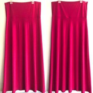 Lane Bryant Hot Pink fold over waist maxi skirt